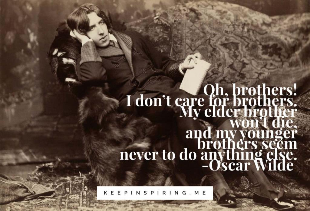 Oscar Wilde sitting on an opulent couch and writing quotes about brothers