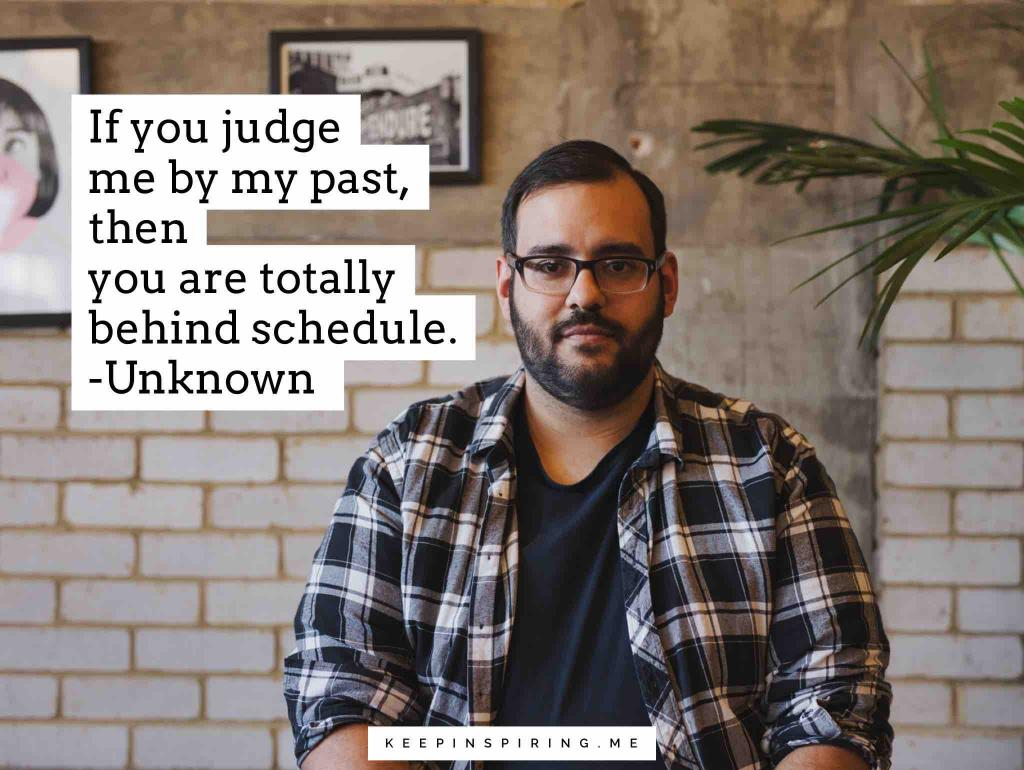Judgement quote and a man in plaid staring straight ahead