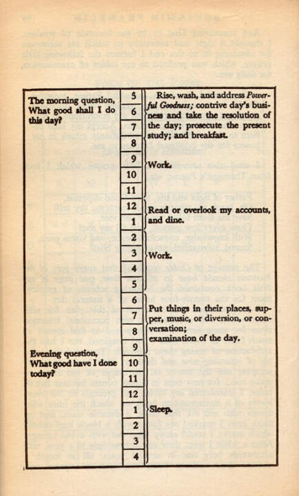 life lessons from benjamin franklin ben franklin schedule