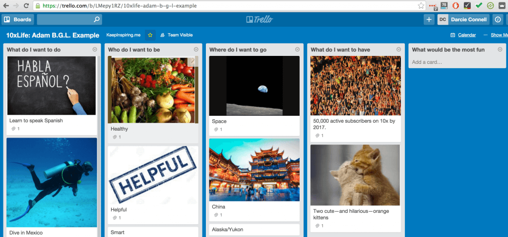 Trello: Board Game of Life with Goals