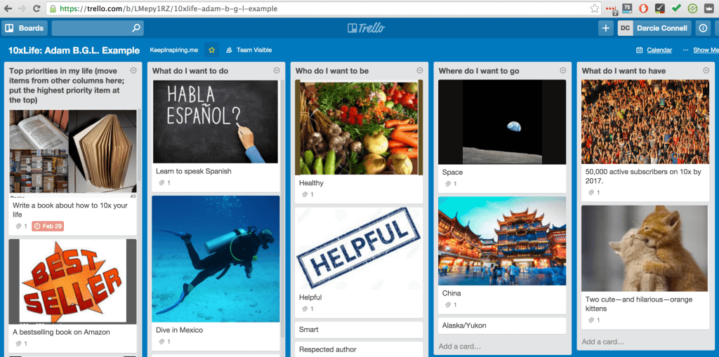 Trello: Board Game of Life with Priorities