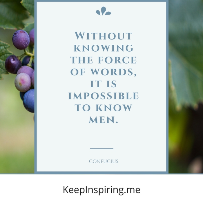 """""""Without knowing the force of words, it is impossible to know men."""" -Confucius"""