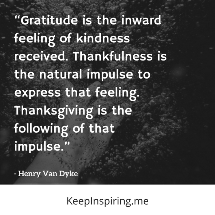gratitude is the inward feeling of kindness received thankfulness is the natural impulse to express that feeling thanksgiving is the following of that