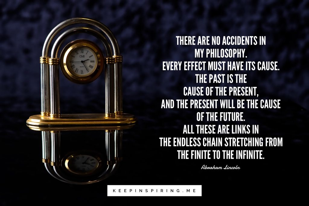 Lincoln quote about causality and the future net to a gold Bvlgari desk clock