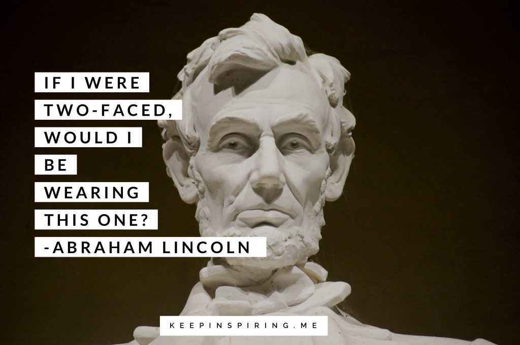 Close-up of the face on Abraham Lincoln's statue in his Memorial on the National Mall