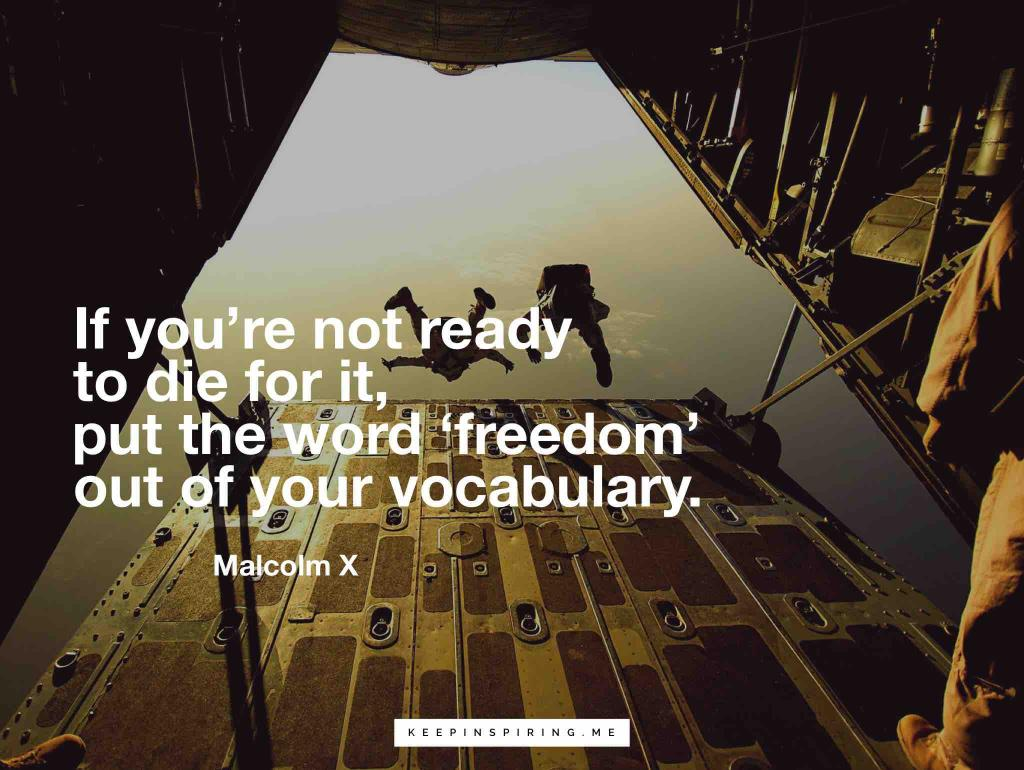 "Malcolm X quote ""If you're not ready to die for it, put the word 'freedom' out of your vocabulary"""