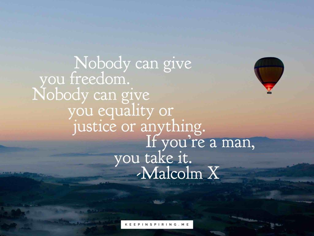 "Malcolm X quote ""Nobody can give you freedom. Nobody can give you equality or justice or anything. If you're a man, you take it"""
