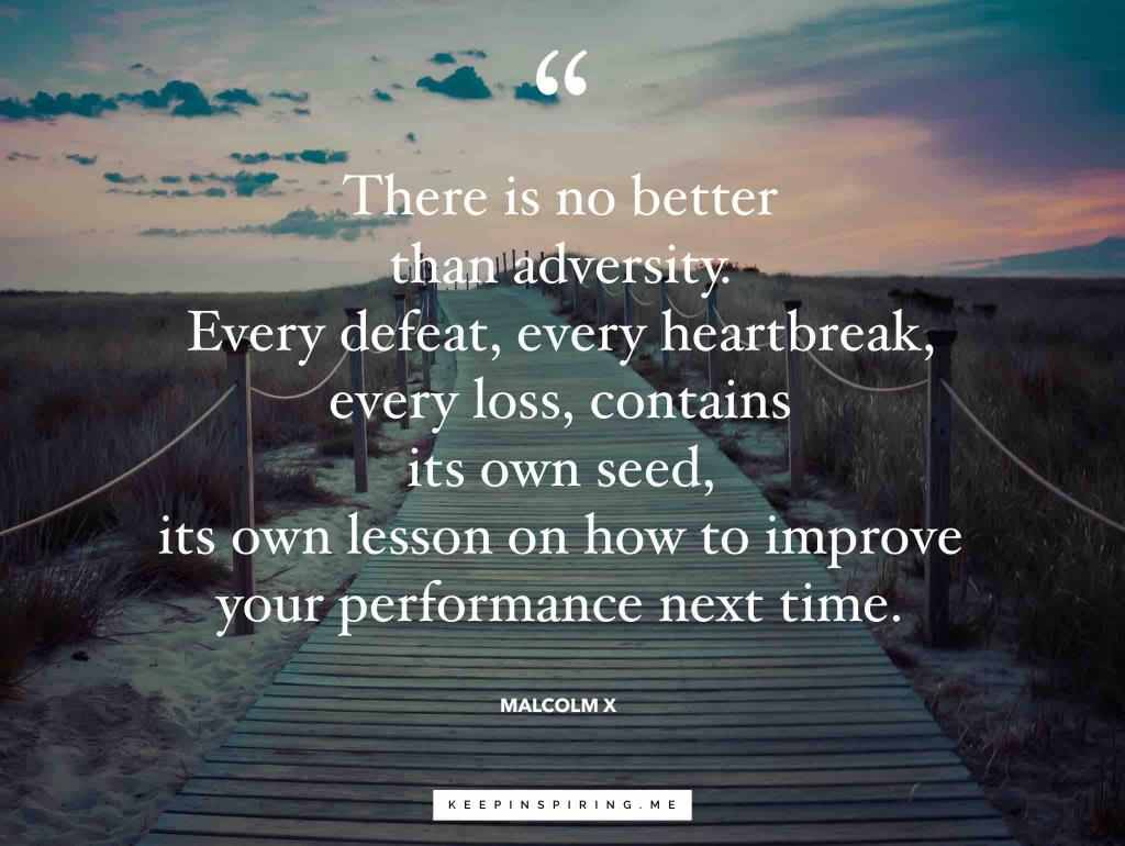 "Malcolm X quote ""There is no better than adversity. Every defeat, every heartbreak, every loss, contains its own seed, its own lesson on how to improve your performance next time"""