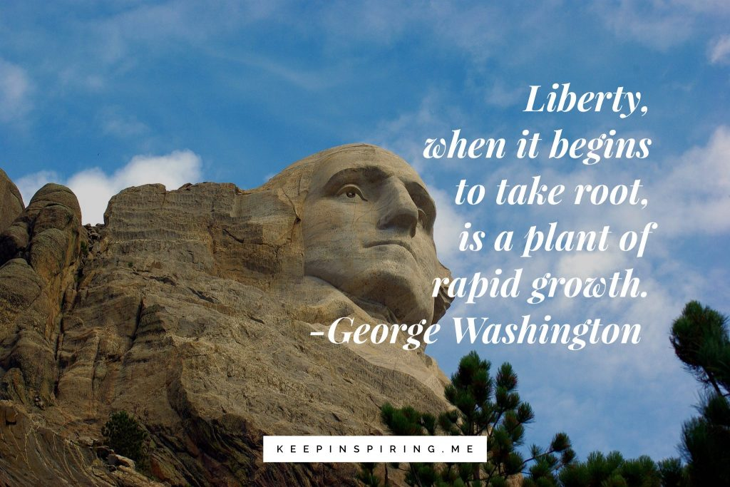 "George Washington quote ""Liberty, when it begins to take root, is a plant of rapid growth"""