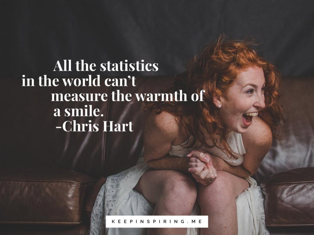 "Chris Heart quote ""All the statistics in the world can't measure the warmth of a smile"""