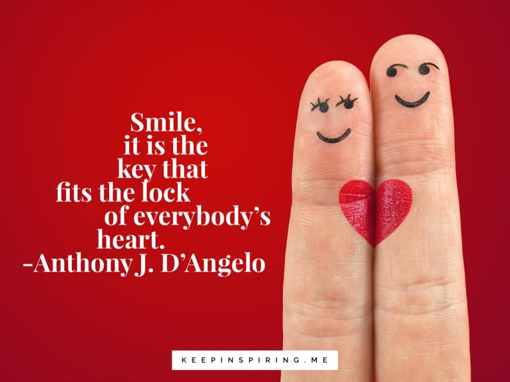 "Anthony D'Angelo quote ""Smile, it is the key that fits the lock of everybody's heart"""