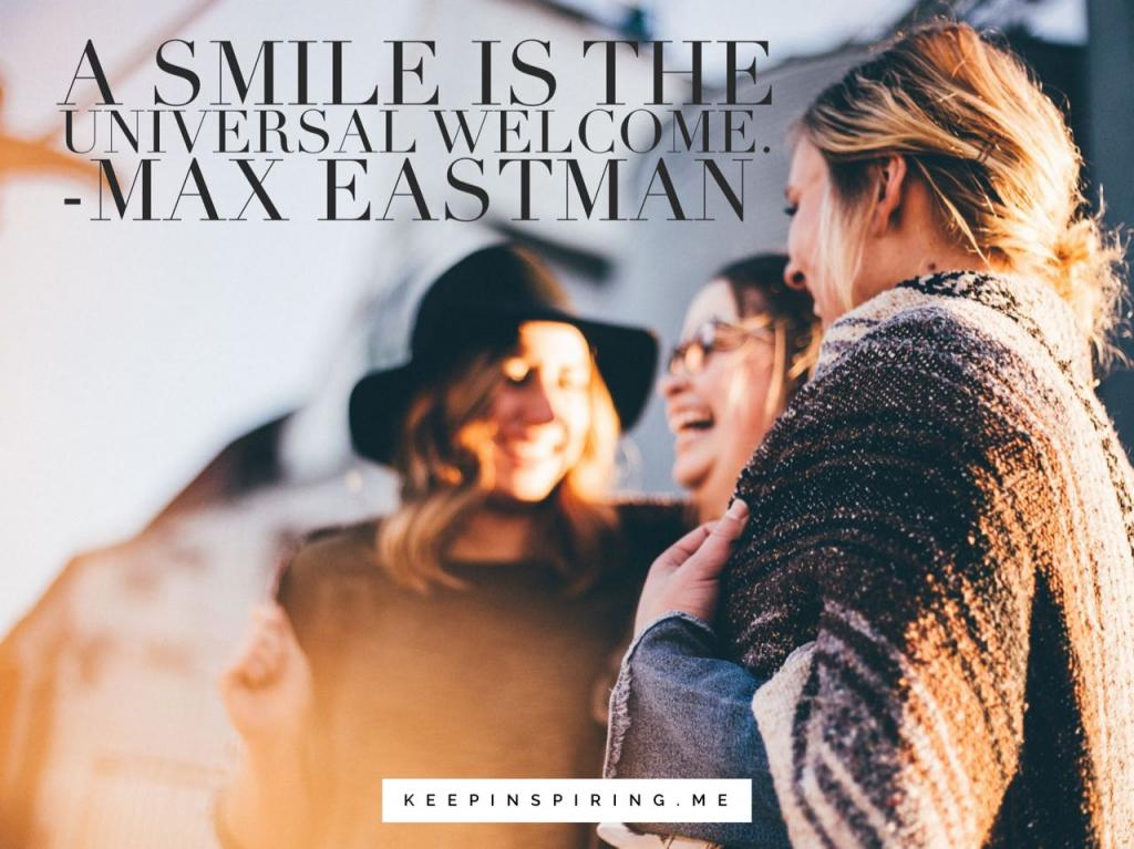 Three smiling friends and a quote about smiling to boost your mood