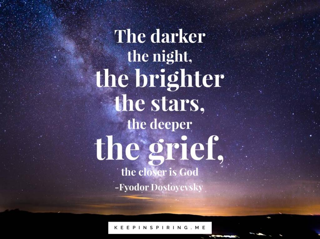 Dostoyevsky quote against a good night sky
