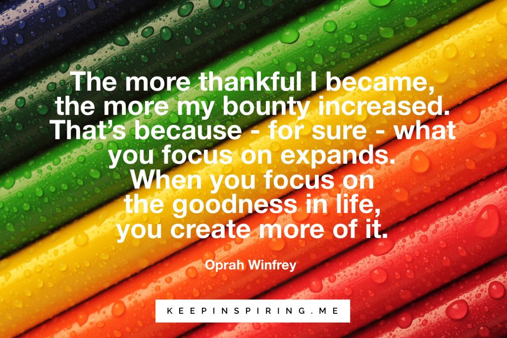 Oprah Quote on gratitude on a multi-colored background