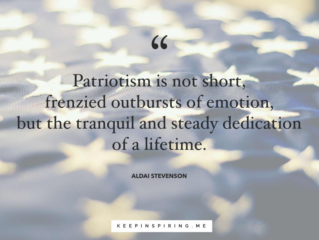 Adlai Stevenson quote about patriotism and stars on a folded American flag
