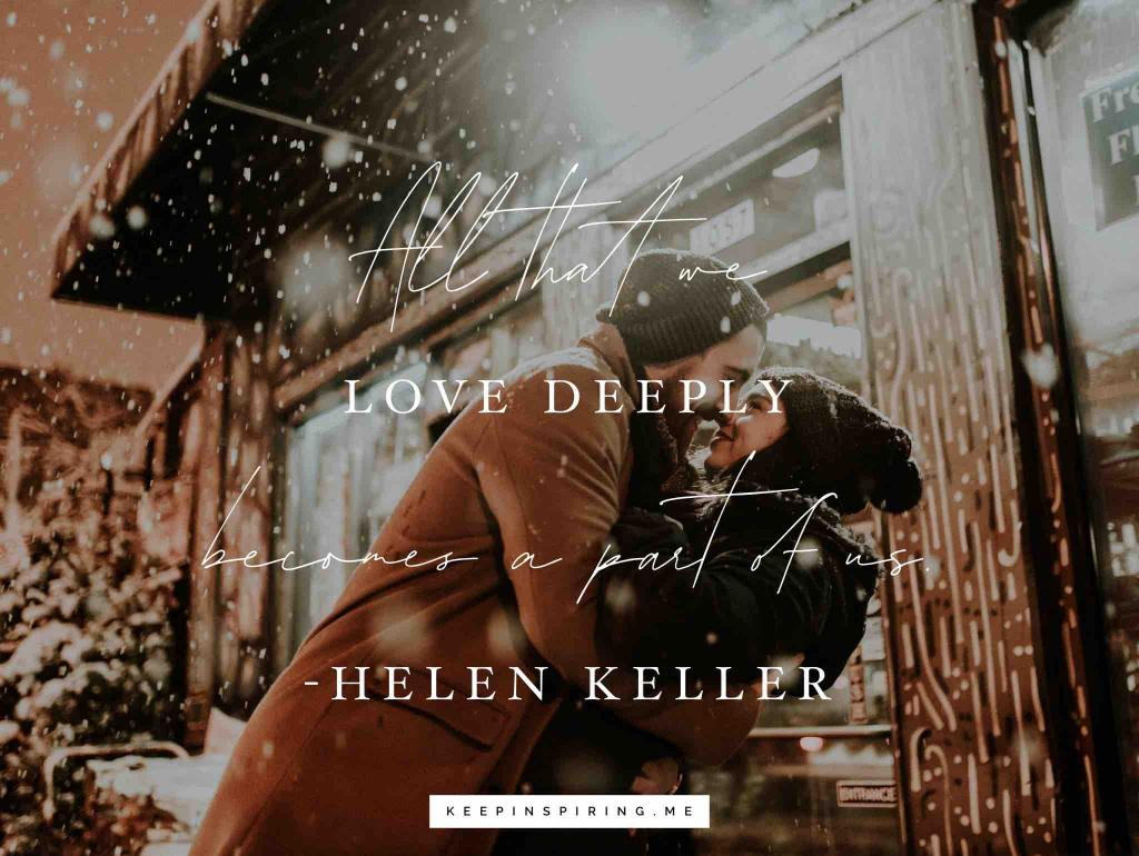 A man and woman embracing in falling snow outside a Chicago restaurant