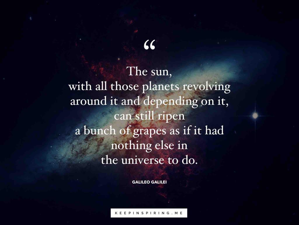 Galileo quote over a picture of the great central sun at the galactic core