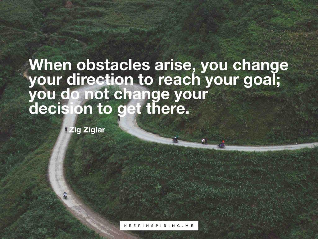 """When obstacles arise, you change your direction to reach your goal; you do not change your decision to get there"""