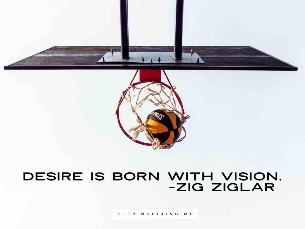 "Zig Ziglar quote ""Desire is born with vision"""