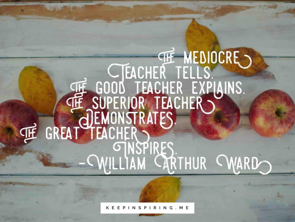 Saying about great teachers and five red delicious apples on a desk