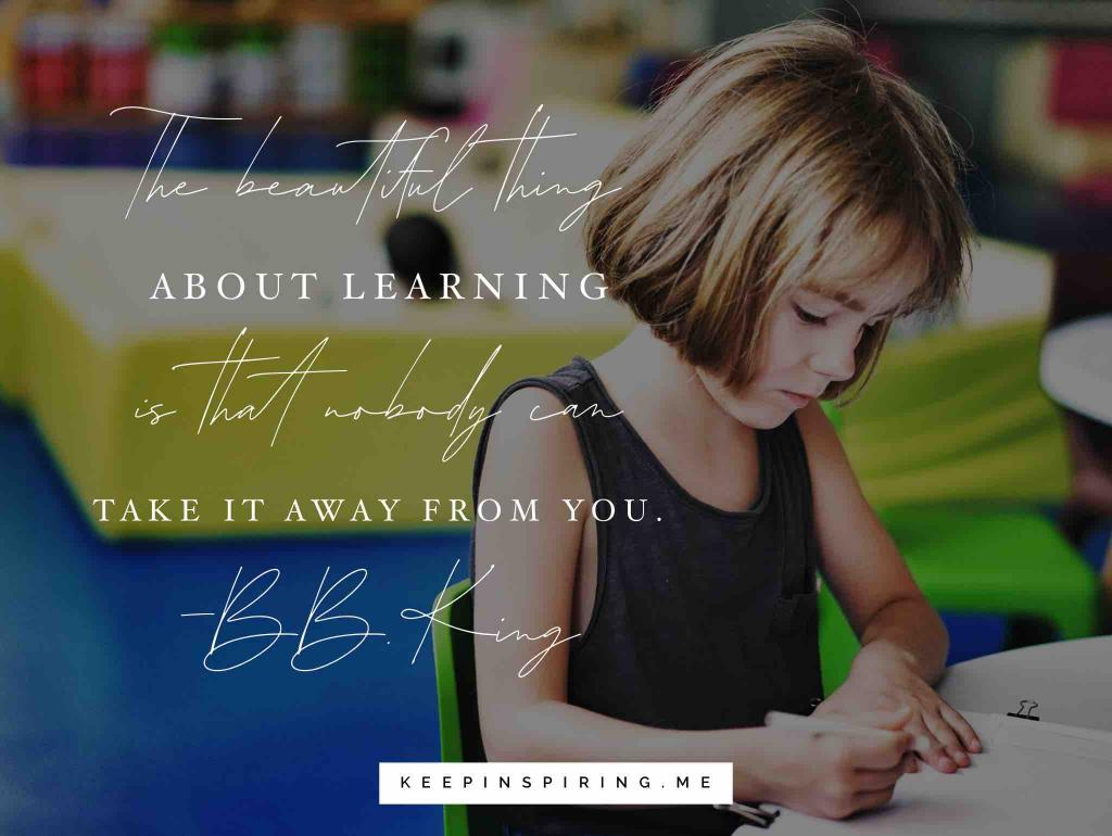 "BB King learning quote ""The beautiful thing about learning is that nobody can take it away from you"""