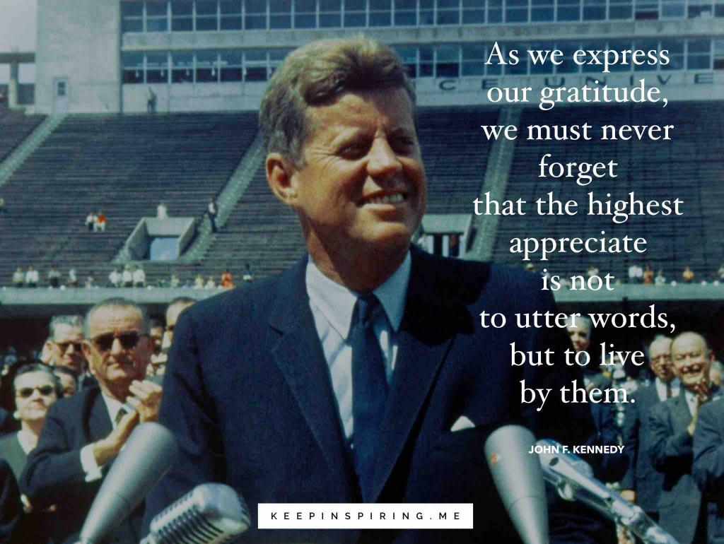 JFK speaking to reporters about gratitude at Rice University