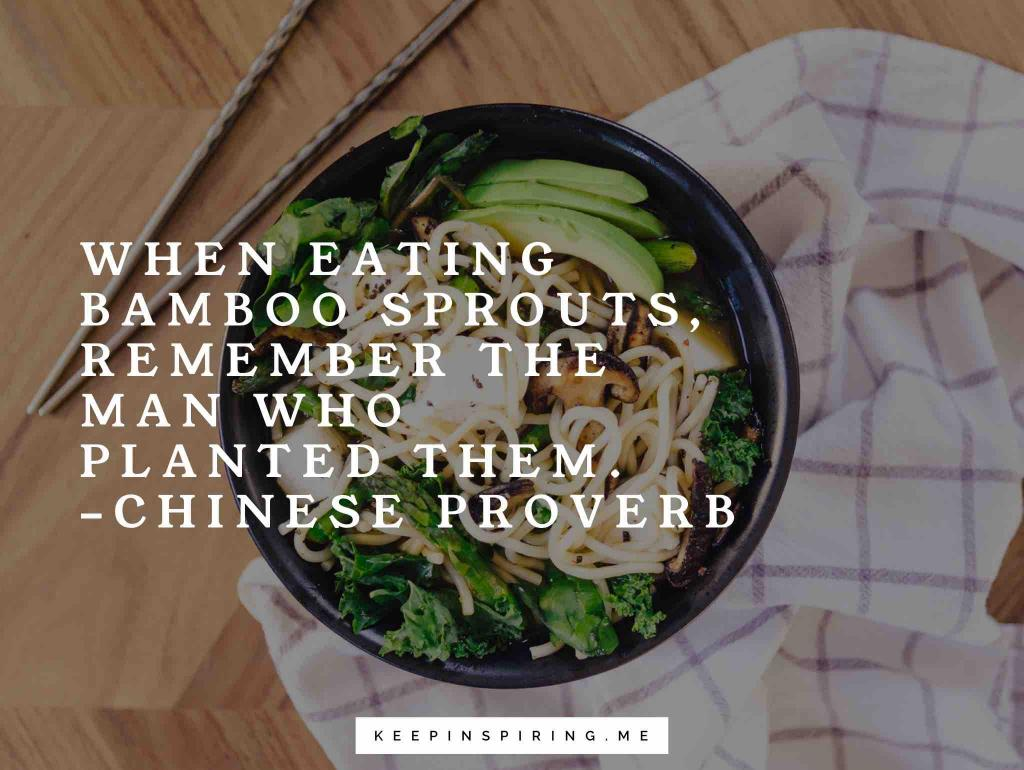"Chinese appreciation proverb ""When eating bamboo sprouts, remember the man who planted them"""