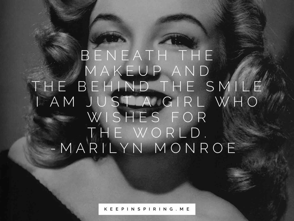 Marilyn Monroe's young smiling face in makeup and red lipstick