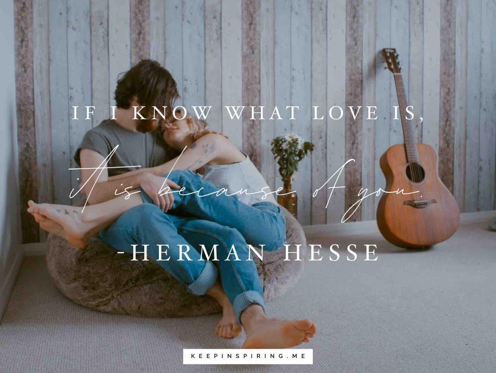 "Herman Hesse soulmate quote ""If I know what love is, it is because of you"""