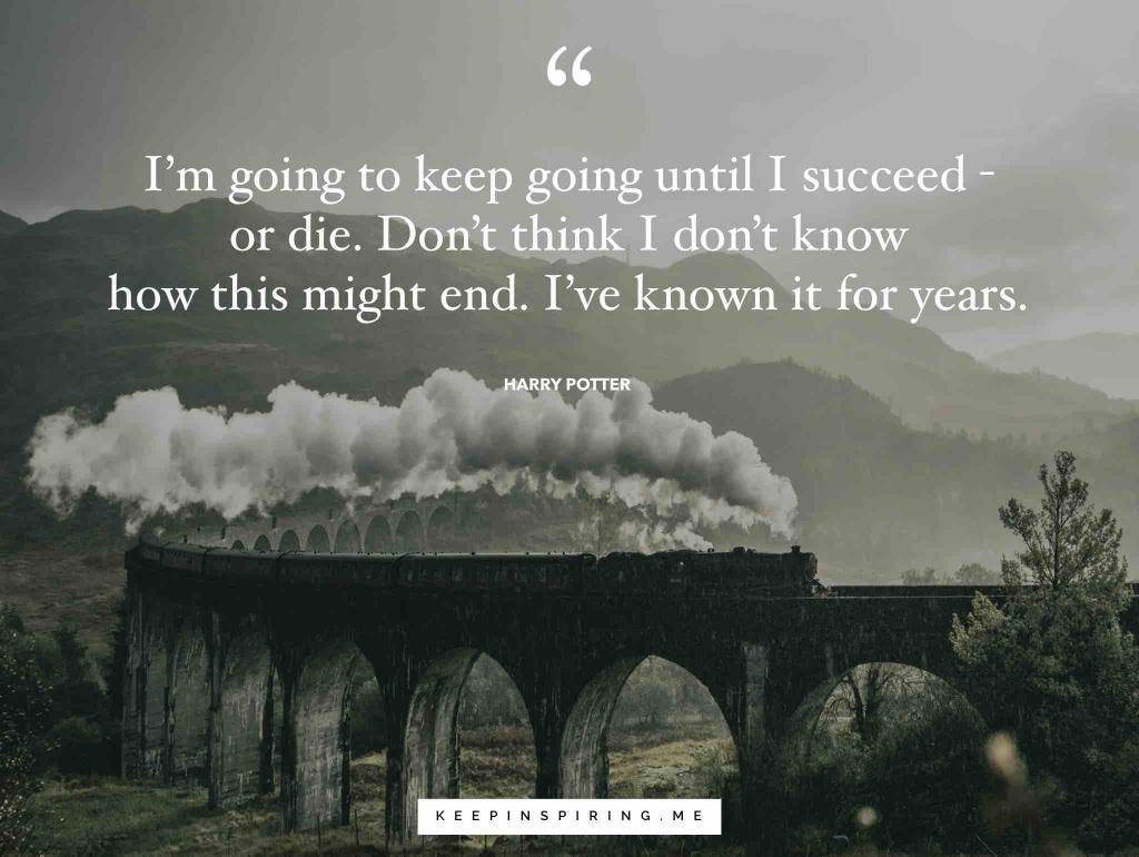 "Harry Potter quote ""I'm going to keep going until I succeed — or die. Don't think I don't know how this might end. I've known it for years"""