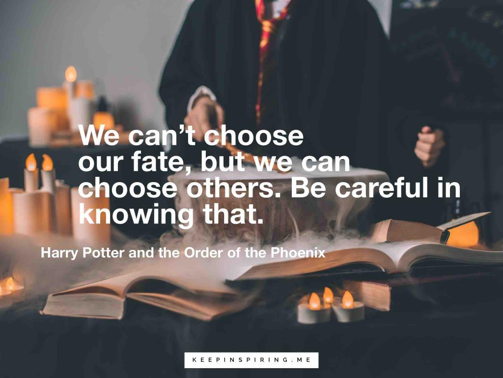 "Harry Potter Quote ""We can't choose our fate, but we can choose others. Be careful in knowing that"""