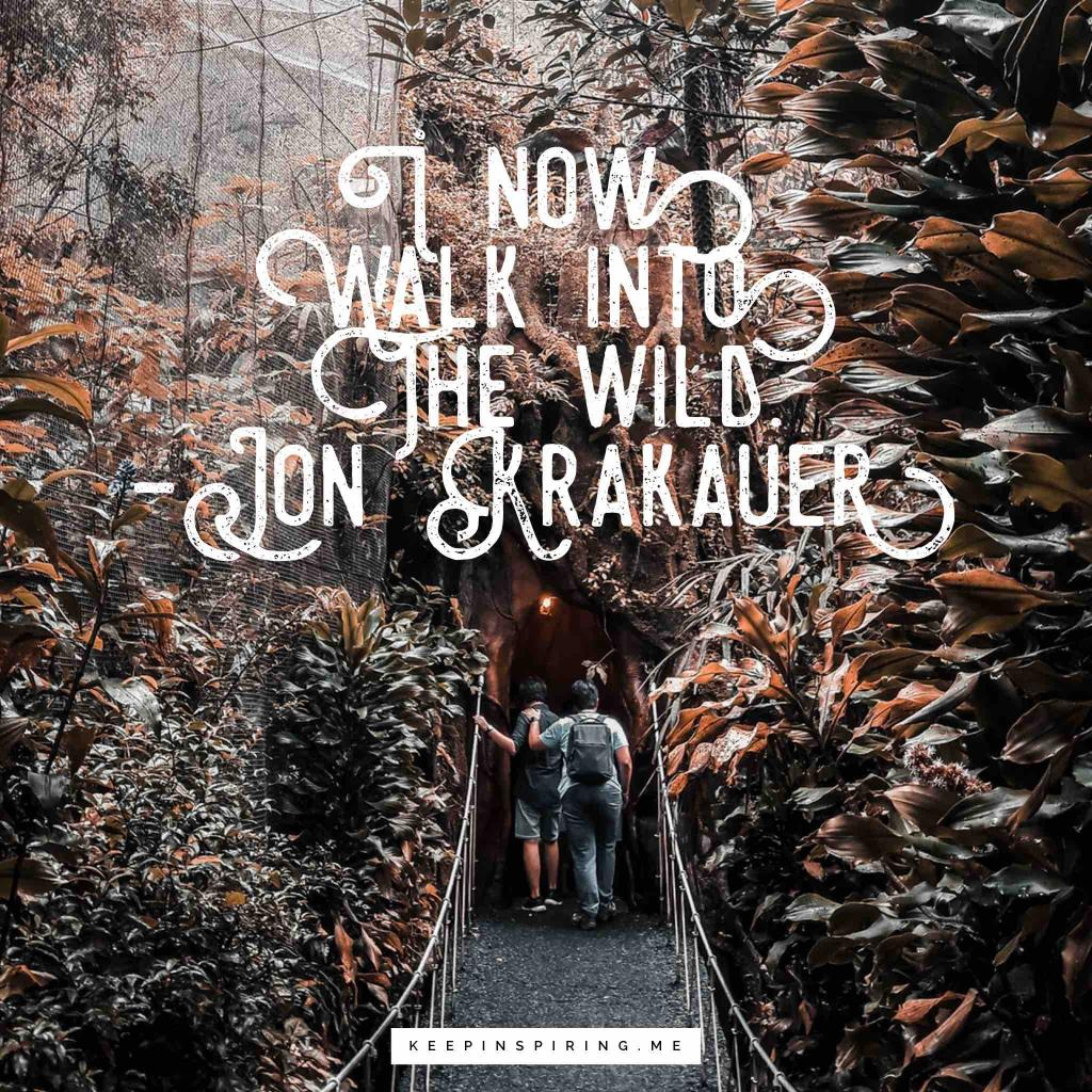 "John Krakauer adventure quote ""I now walk into the wild"""