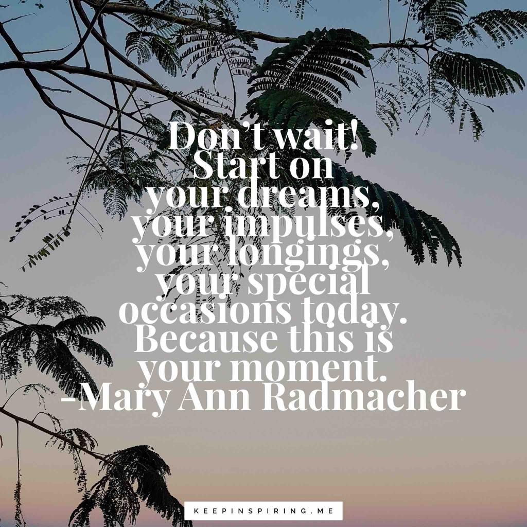 "Mary Ann Radmacher quote ""Don't Wait! Start on your dreams, your impulses, your longings, your special occasions today. Because this is your moment"""