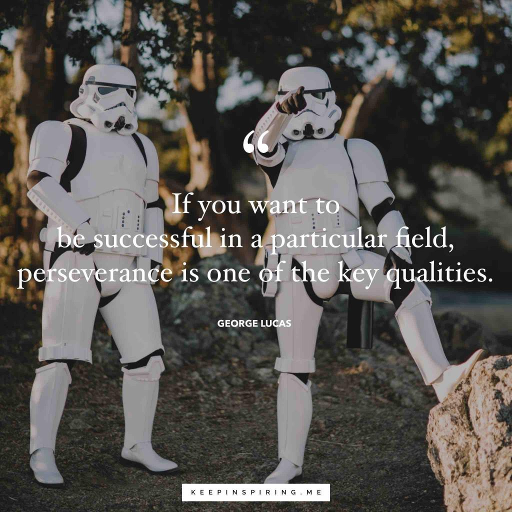 "George Lucas quote ""If you want to be successful in a particular field, perseverance is one of the key qualities"""
