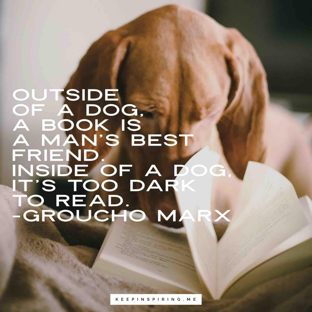 "Groucho Marx quote ""Outside of a dog, a book is a man's best friend. Inside of a dog, it's too dark to read"""