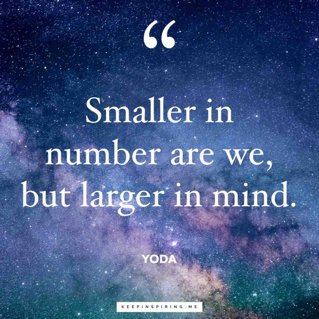 "Yoda Star Wars quote ""Smaller in number are we, but larger in mind"""