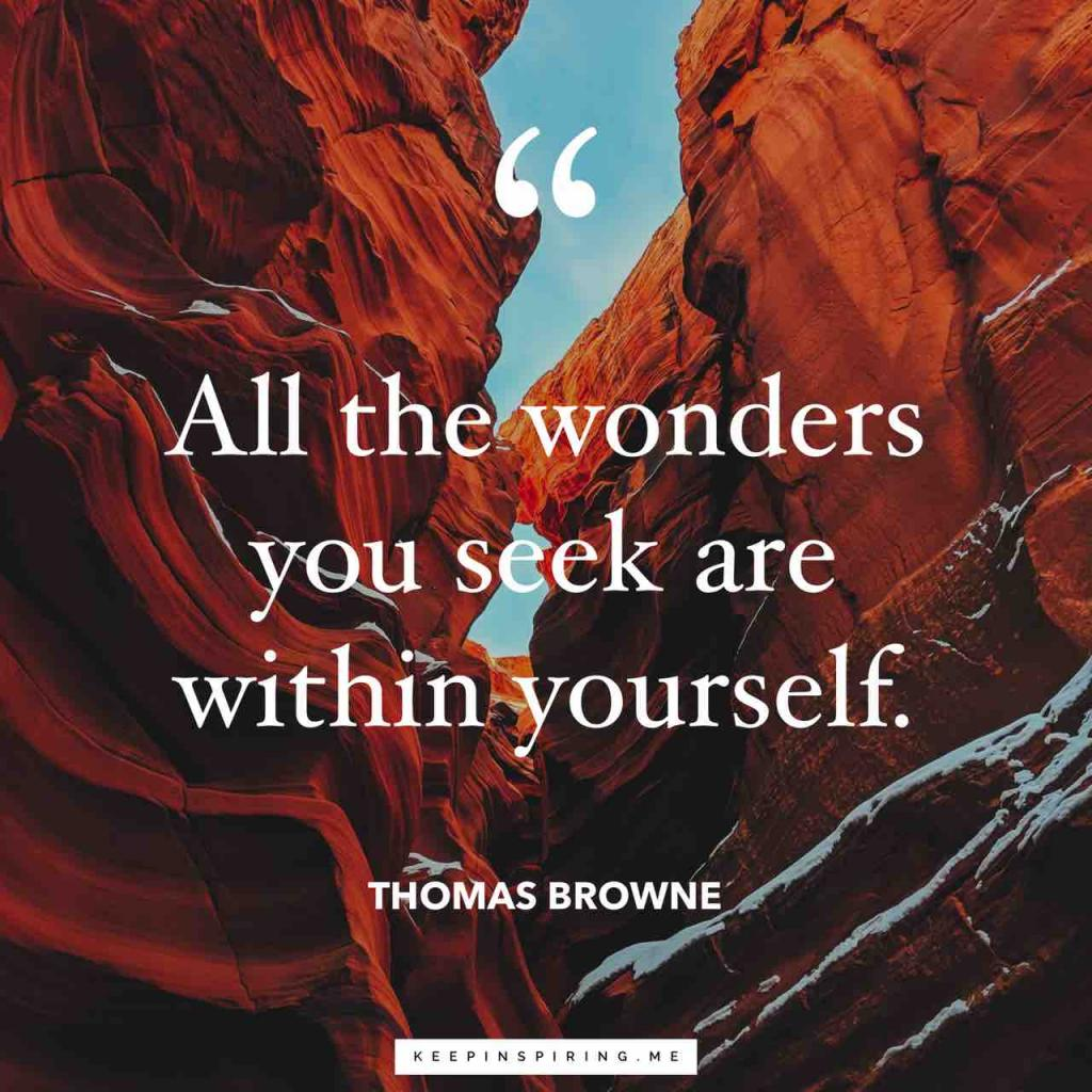 "Thomas Browne quote ""All the wonders you seek are within yourself"""