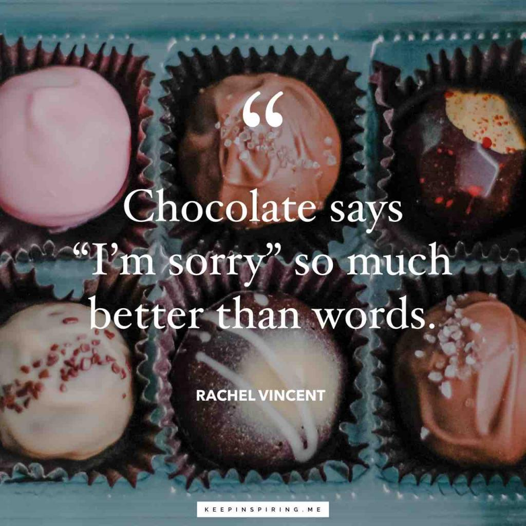 "Rachel Vincent apology quote ""Chocolate says 'I'm sorry' so much better than words"""