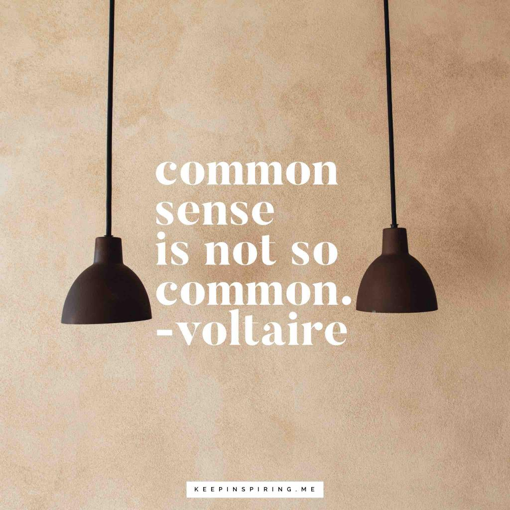 "Voltaire quote ""Common sense is not so common"""