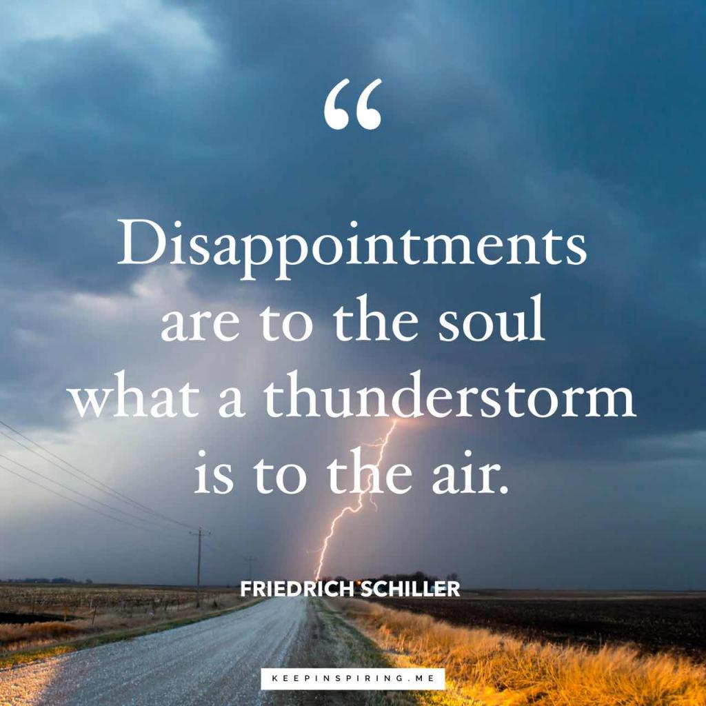 """Disappointments are to the soul what a thunderstorm is to the air"""