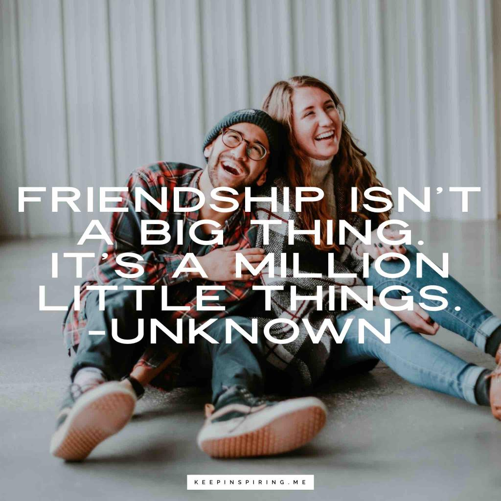 """Friendship isn't a big thing. It's a million little things"""