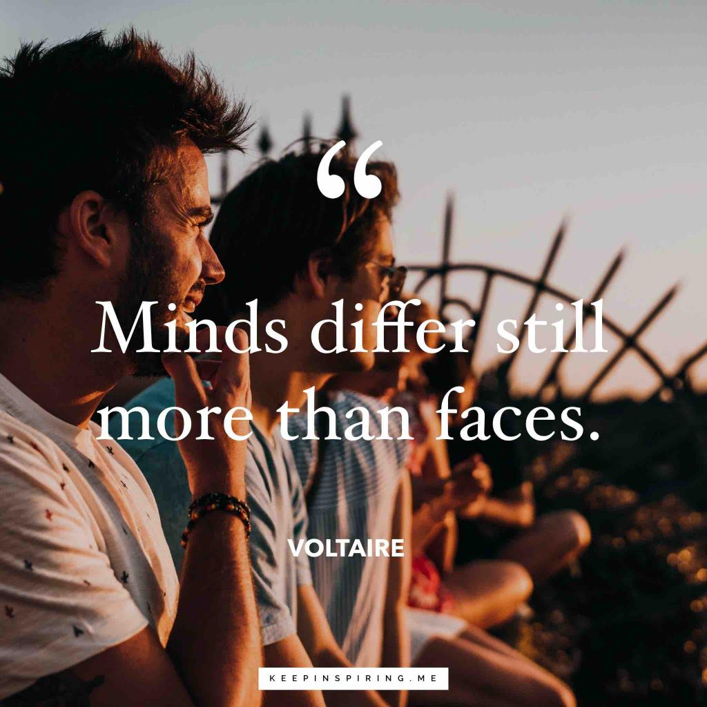 """Voltaire quote """"Minds differ still more than faces"""""""