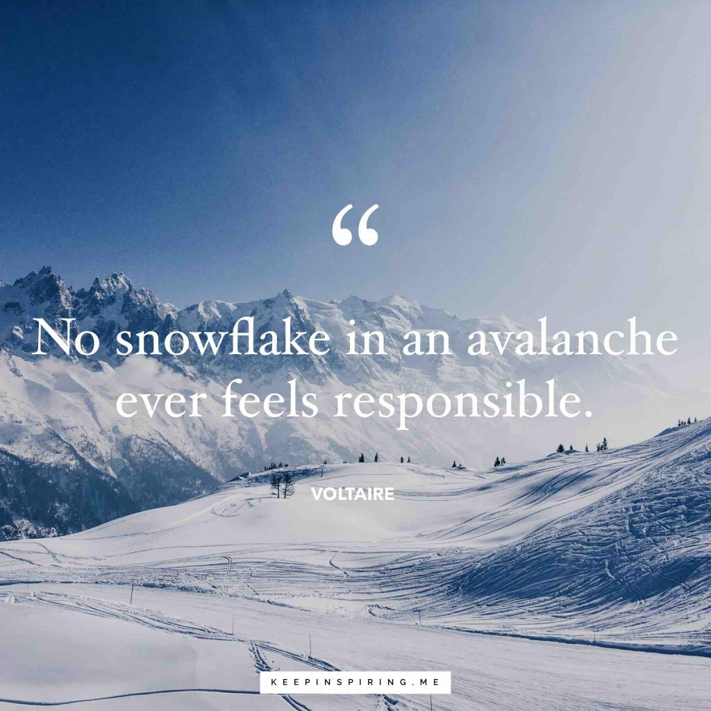 """""""No snowflake in an avalanche ever feels responsible"""""""