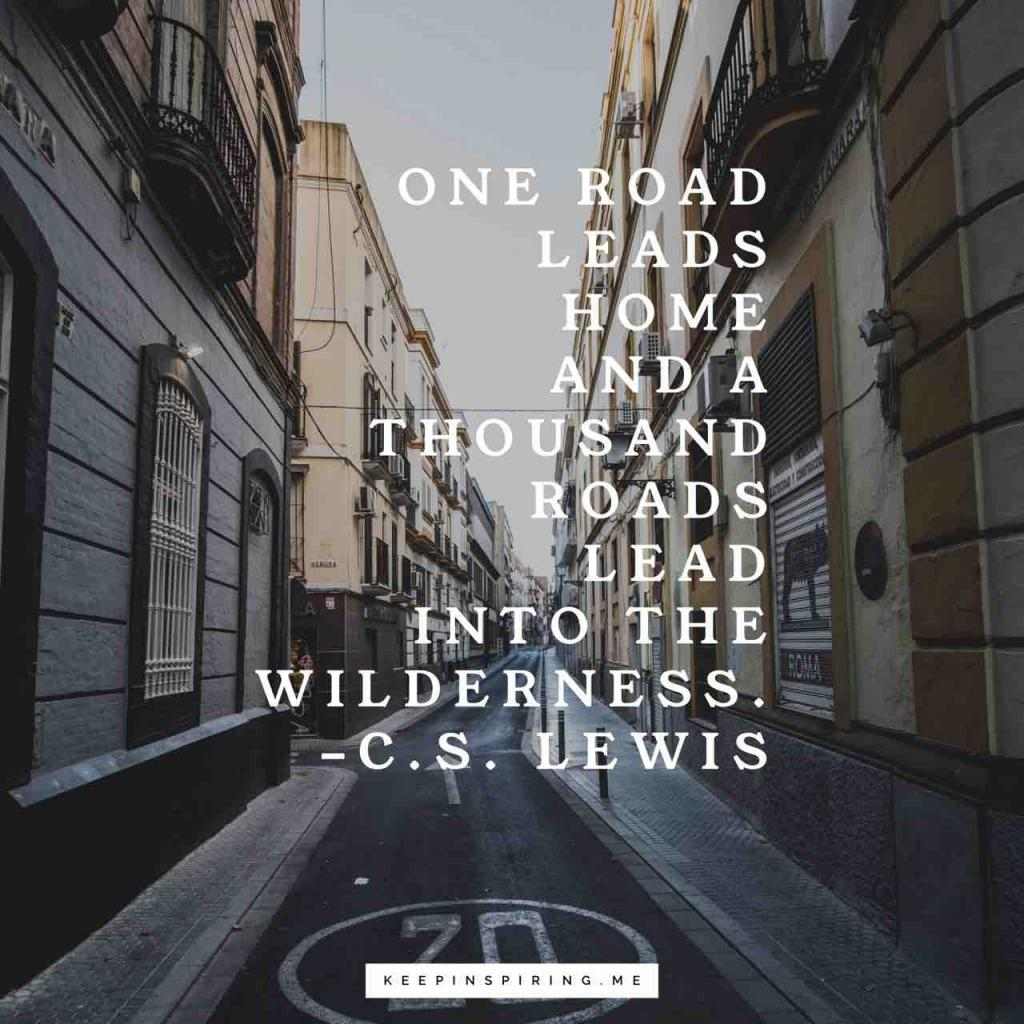 "C.S. Lewis quote ""One road leads home and a thousand roads lead into the wilderness"""