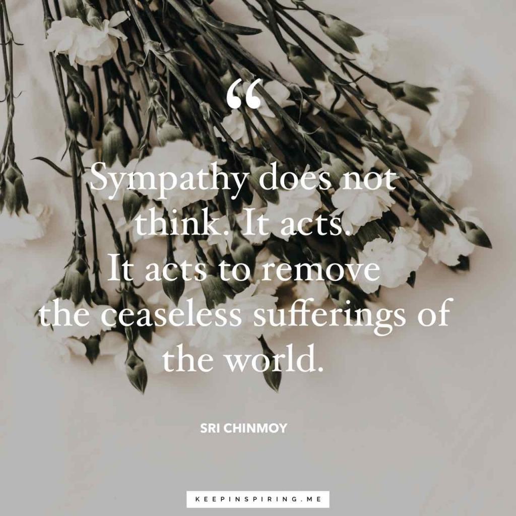 """Sri Chinmoy quote """"Sympathy does not think - It acts - It acts to remove the ceaseless sufferings of the world."""""""
