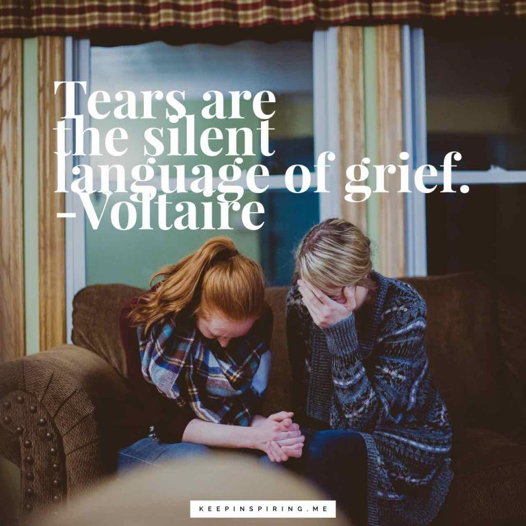 "Voltaire condolences quote ""Tears are the silent language of grief"""