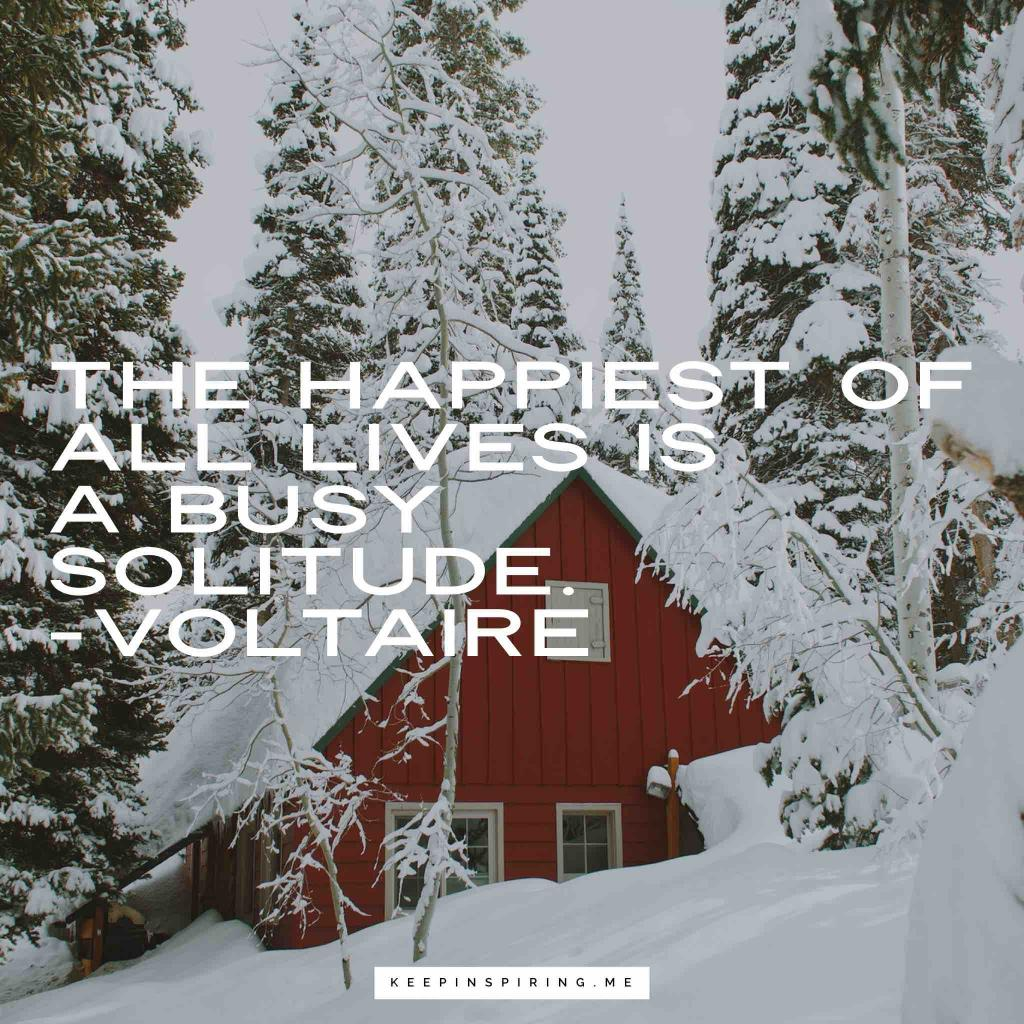"""Voltaire quote """"The happiest of all lives is a busy solitude"""""""