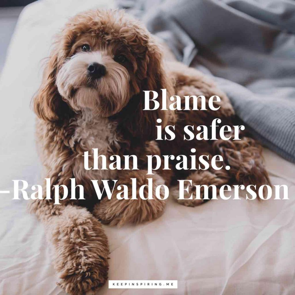 "Ralph Waldo Emerson quote ""Blame is safer than praise"""