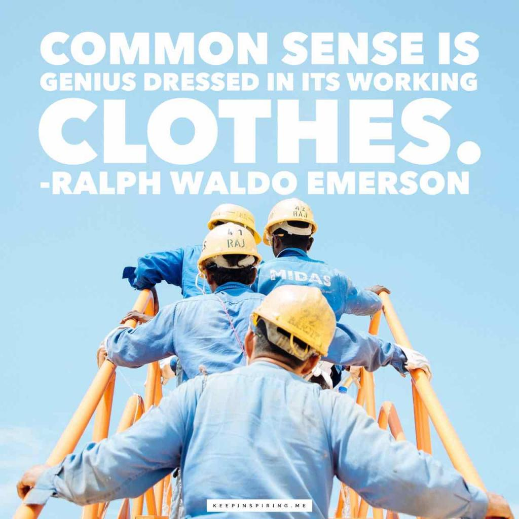"""Common sense is genius dressed in its working clothes"""