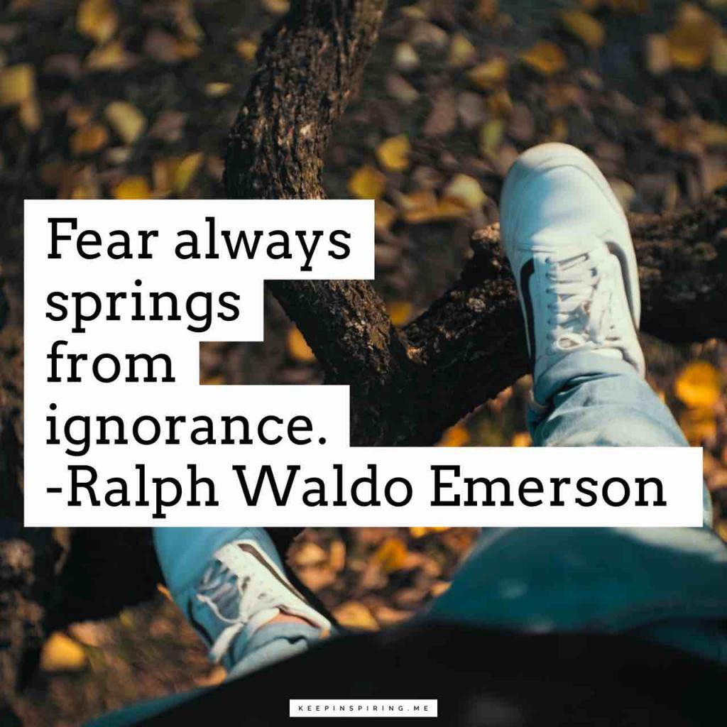 "Ralph Waldo Emerson quote ""Fear always springs from ignorance"""